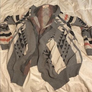Gray and Pink Aztec Cardigan
